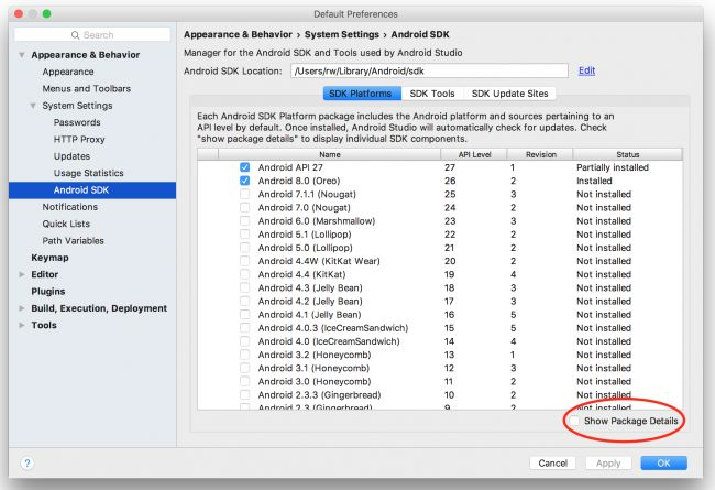 Cài đặt trình quản lý Android SDK