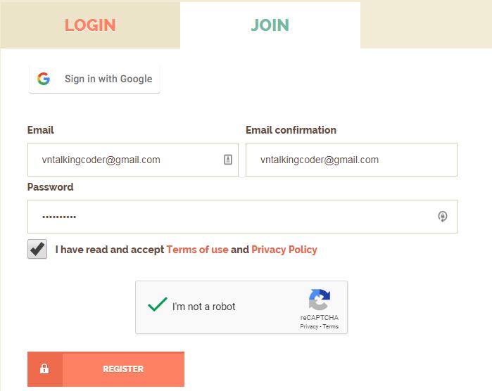 Điền thông tin đăng ký shorte.st