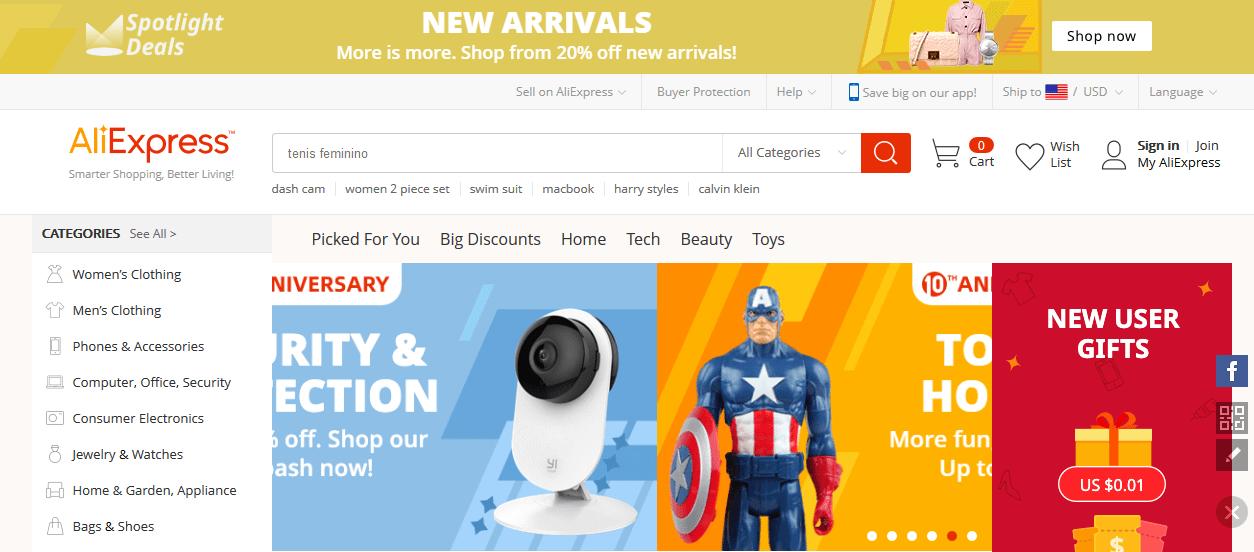 Tìm sản phẩm trên AliExpress